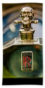 1912 Rolls-royce Silver Ghost Cann Roadster Skull Hood Ornament Beach Towel