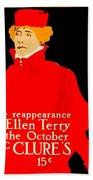 1913 - Mcclures Magazine Poster Advertisement - Ellen Terry - Color Beach Towel