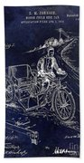 1913 Motorcycle Side Car Patent Blue Beach Towel
