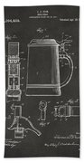 1914 Beer Stein Patent Artwork - Gray Beach Towel