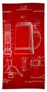 1914 Beer Stein Patent Artwork - Red Beach Towel by Nikki Marie Smith