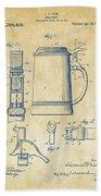 1914 Beer Stein Patent Artwork - Vintage Beach Towel