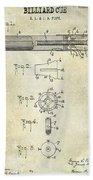 1915 Billiard Cue Patent Drawing  Beach Towel
