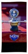 1915 Saxon Roadster Hood Ornament Beach Towel