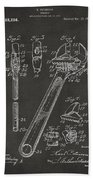 1915 Wrench Patent Artwork - Gray Beach Towel