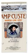 1917 - Camp Custer March One Step Sheet Music - Edward Schroeder - Color Beach Towel