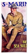 1917 - United States Marines Recruiting Poster - World War One - Color Beach Towel