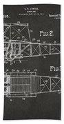 1917 Glenn Curtiss Aeroplane Patent Artwork 2 - Gray Beach Towel by Nikki Marie Smith