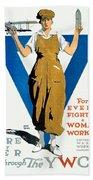 1918 - Ywca Patriotic Poster - World War One - Color Beach Towel