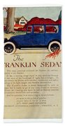 1919 - Franklin Sedan Advertisement - Color Beach Towel
