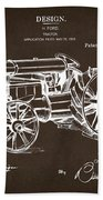 1919 Henry Ford Tractor Patent Espresso Beach Towel by Nikki Marie Smith