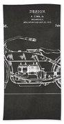 1919 Motorcycle Patent Artwork - Gray Beach Towel