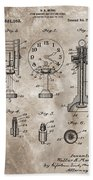 1920 Clock Patent Beach Towel
