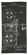 1920 Motion Picture Machine Patent Gray Beach Towel