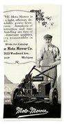 1921 - Moto Mower Lawnmower Advertisement Beach Towel