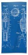 1921 Explosive Missle Patent Minimal Blueprint Beach Towel by Nikki Marie Smith