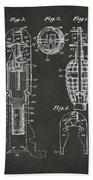 1921 Explosive Missle Patent Minimal Gray Beach Towel