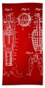 1921 Explosive Missle Patent Minimal Red Beach Sheet