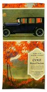 1923 - Cole Royal Sedan - Advertisement - Color Beach Towel