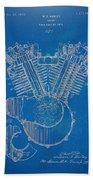 1923 Harley Davidson Engine Patent Artwork - Blueprint Beach Towel by Nikki Smith