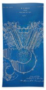 1923 Harley Davidson Engine Patent Artwork - Blueprint Beach Towel
