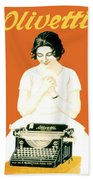 1924 - Olivetti Typewriter Advertisement Poster - Color Beach Towel