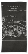1924 Harley Motorcycle Patent Artwork - Gray Beach Towel