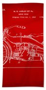 1924 Harley Motorcycle Patent Artwork Red Beach Towel by Nikki Marie Smith