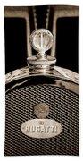 1927 Bugatti Replica Hood Ornament - Emblem Beach Towel