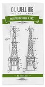1927 Oil Well Rig Patent Drawing - Retro Green Beach Towel