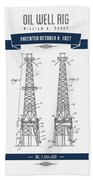 1927 Oil Well Rig Patent Drawing - Retro Navy Blue Beach Towel