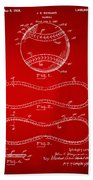 1928 Baseball Patent Artwork Red Beach Towel