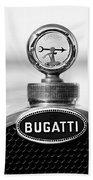 1928 Bugatti Type 44 Cabriolet Hood Ornament - Emblem Beach Towel
