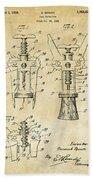 1928 Cork Extractor Patent Art - Vintage Black Beach Towel