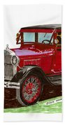 1928 Ford Model A Two Door Beach Towel