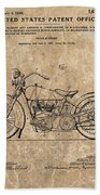 1928 Harley Davidson Motorcyle Patent Illustration Beach Towel