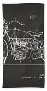 1928 Harley Motorcycle Patent Artwork - Gray Beach Towel by Nikki Marie Smith