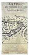 1928 Motorcycle Patent Drawing Beach Towel