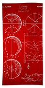 1929 Basketball Patent Artwork - Red Beach Towel