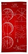 1929 Basketball Patent Artwork - Red Beach Towel
