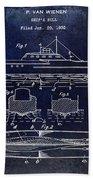 1930 Ship's Hull Patent Drawing Blue Beach Towel
