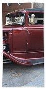 1930 Ford Two Door Sedan Side View Beach Towel