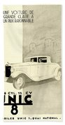 1931 - Unic 8 French Automobile Advertisement Beach Towel