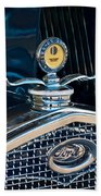 1931 Model A Ford Deluxe Roadster Hood Ornament Beach Towel