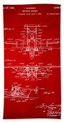 1932 Amphibian Aircraft Patent Red Beach Towel