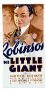 1933 - The Little Giant - Warner Brothers Movie Poster - Edward G Robinson - Color Beach Towel