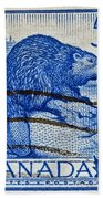 1954 Canada Beaver Stamp Beach Towel