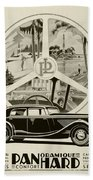 1935 - Panhard Panoramique French Automobile Advertisement Beach Towel