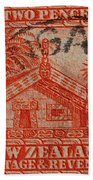 1935 Carved Maori House New Zealand Stamp Beach Towel
