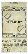 1935 Monopoly Patent Drawing Beach Towel